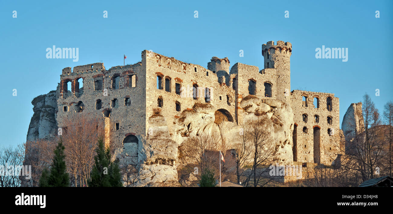 The ruins of medieval castle Ogrodzieniec in Poland. Stock Photo