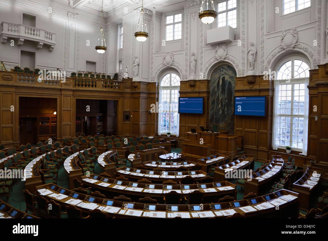 The Folketing, the Danish Parliament, at Christiansborg Castle, Copenhagen, Denmark. The hall is empty. - Stock Image