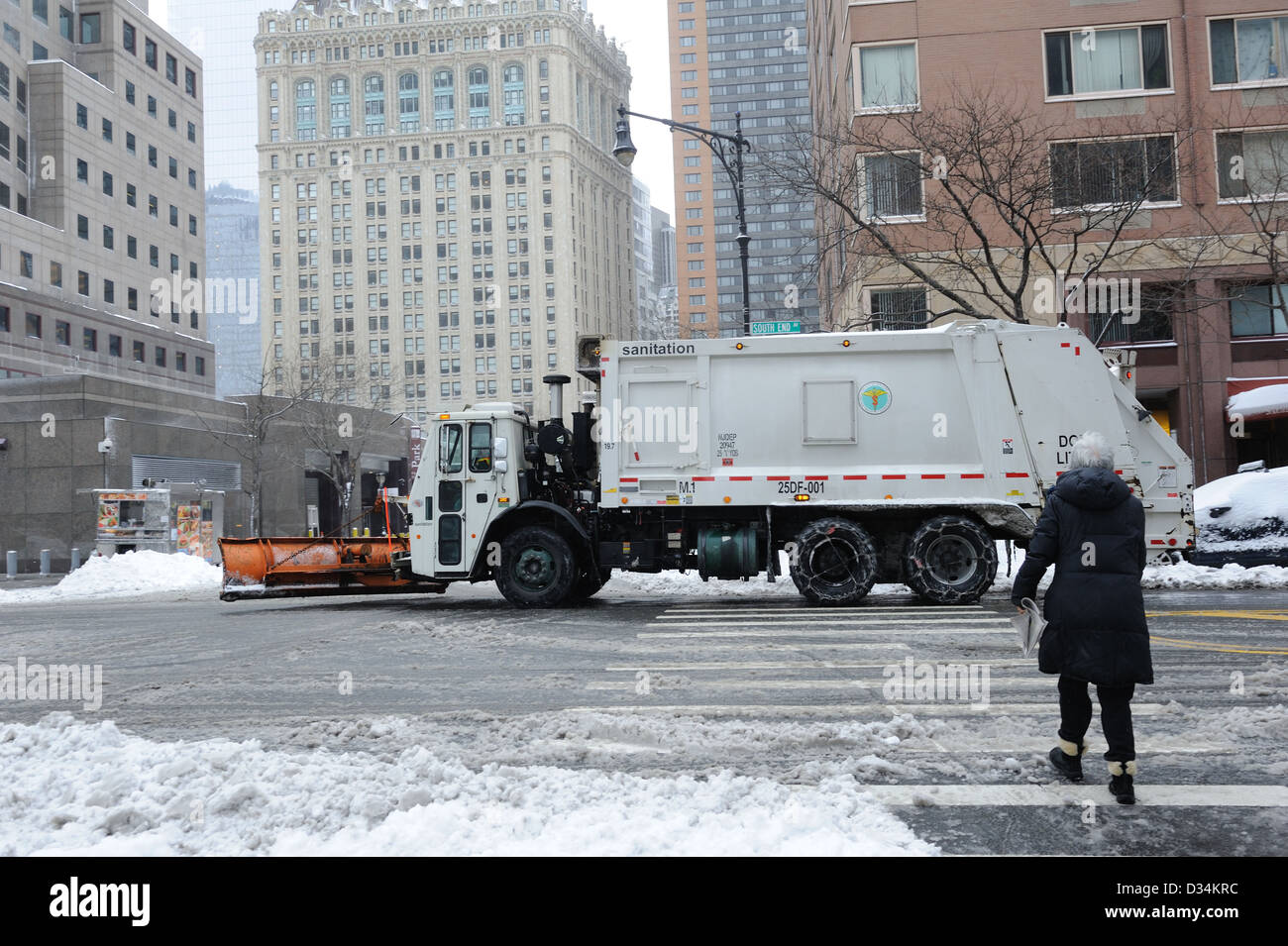 A snowplow on South End Avenue in Battery Park City, a neighborhood in Manhattan, New York City. - Stock Image