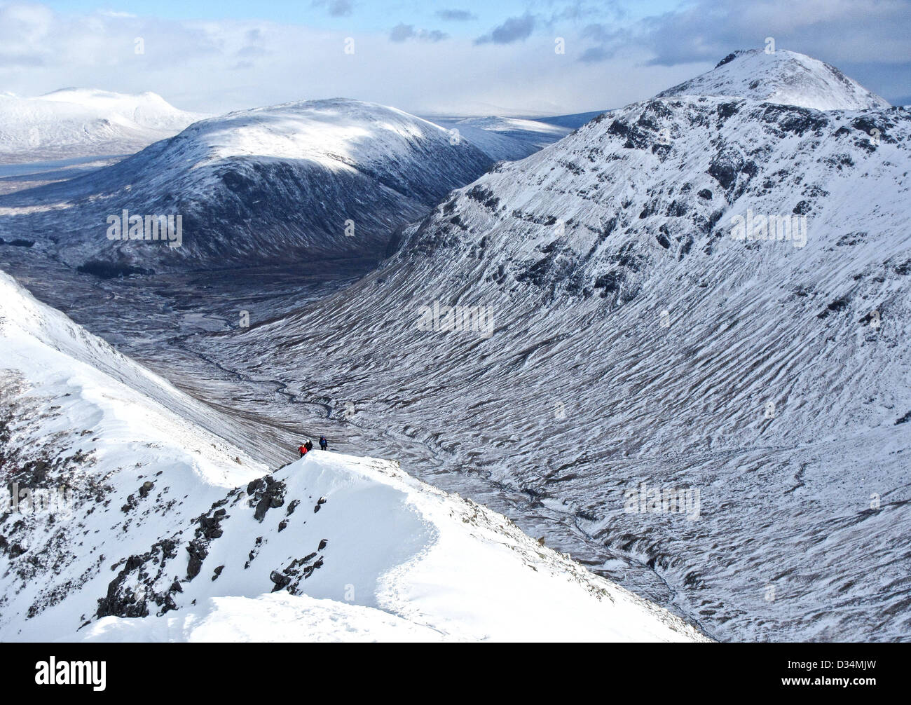 Scottish mountain buachaille etive mor  from Buachaille Etive Beag  in Glencoe  in Scottish highlands, Scotland Stock Photo