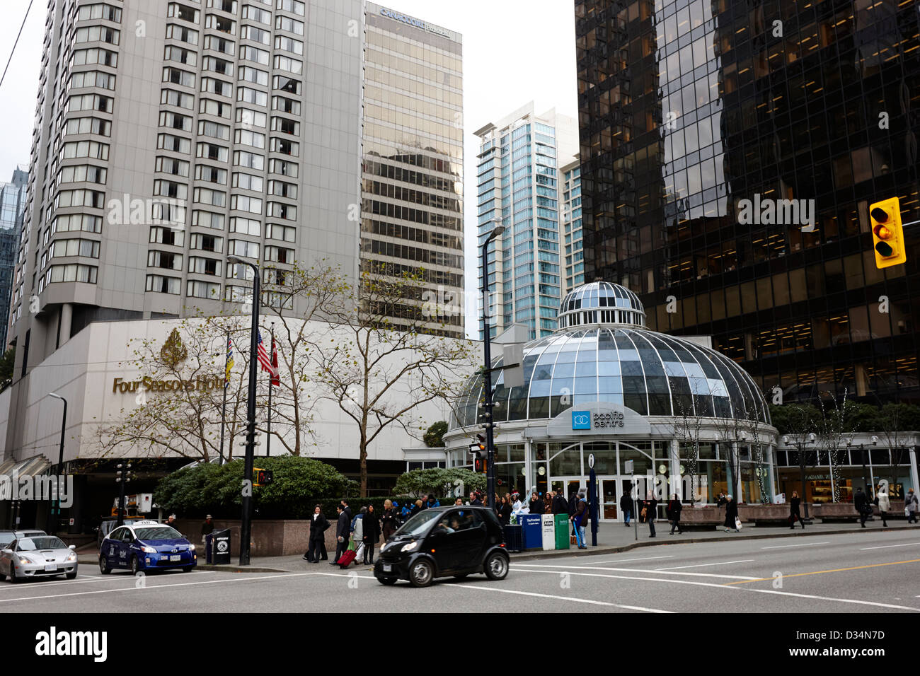 the four seasons hotel and pacific centre Vancouver BC Canada - Stock Image