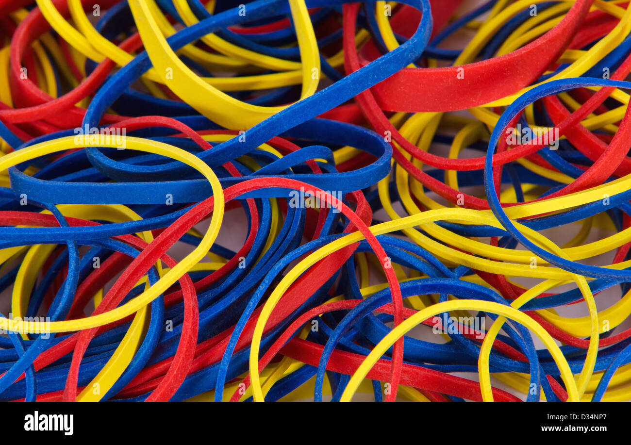 Rubber Bands In Different Colors And Sizes Stock Photo