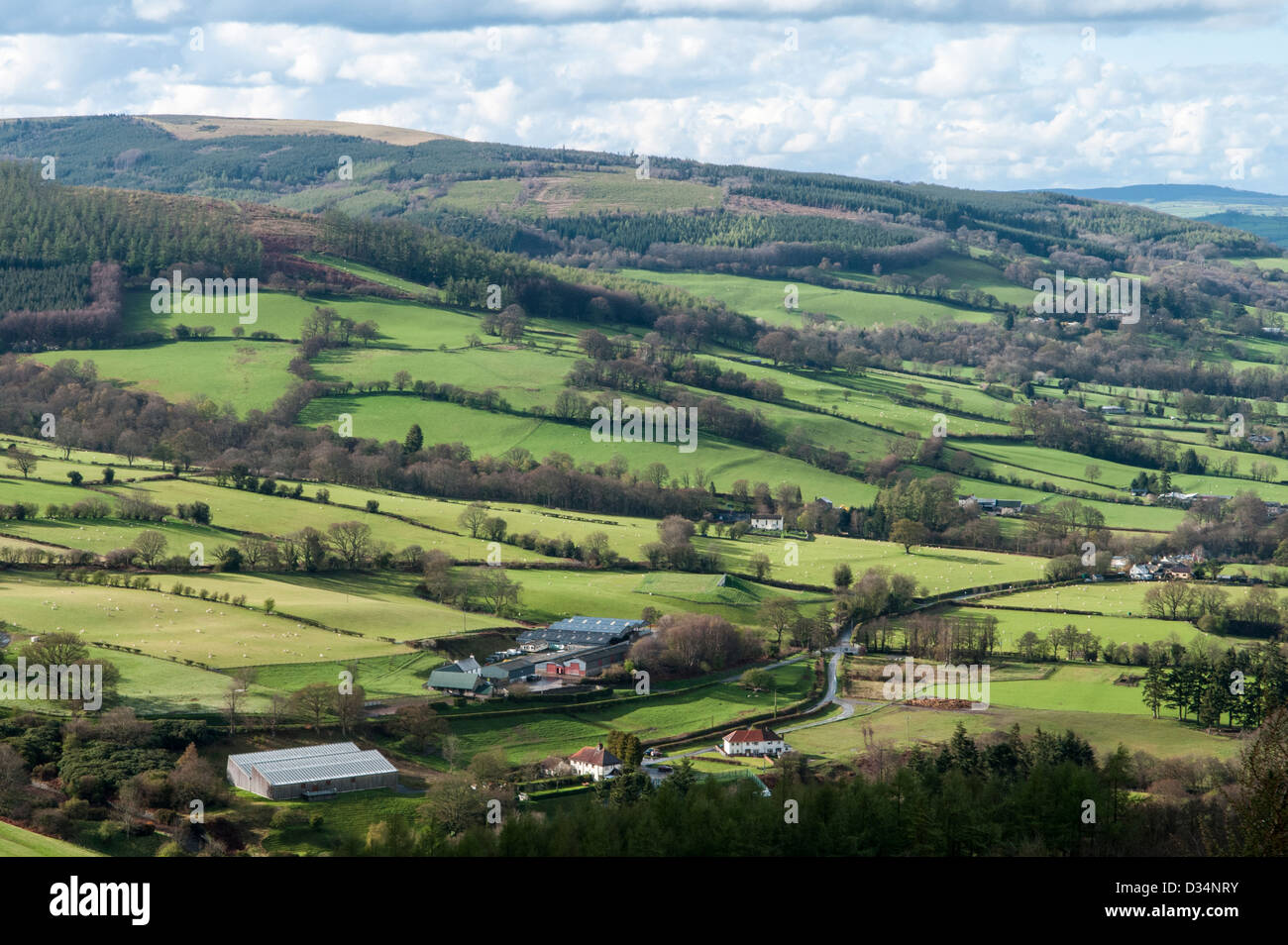 View across the Talybont Valley in the Brecon Beacons National Park, south Wales. - Stock Image