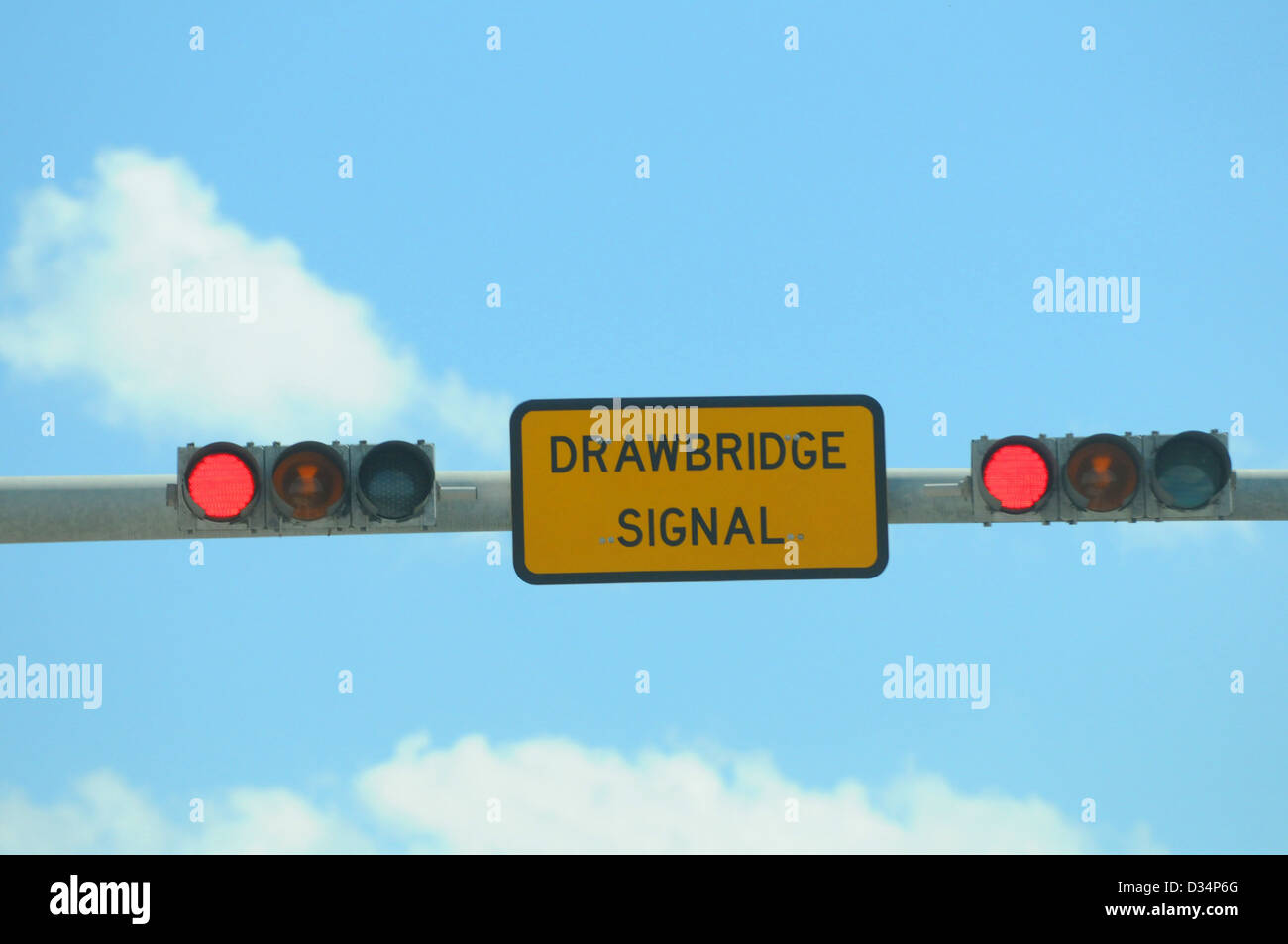 stop for drawbridge sign for a warning when bridge is up - Stock Image