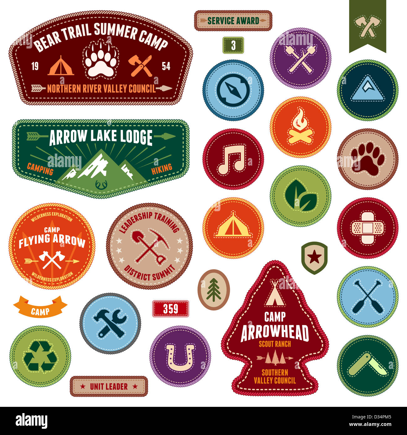 Set of scout badges and merit badges for outdoor activities - Stock Image