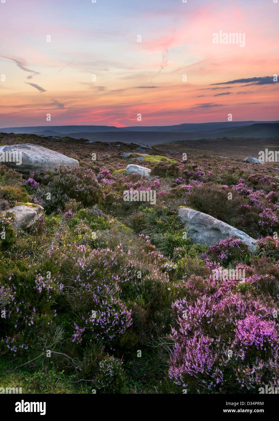 Sunset on Stanage Edge, Peak District, Derbyshire - Stock Image