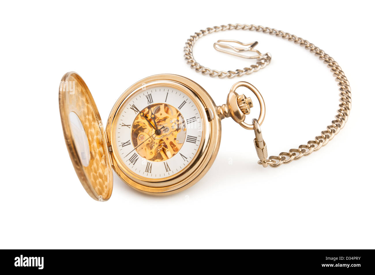 pocket watch on white background - Stock Image