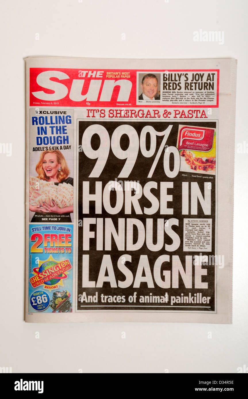 The Sun News Paper.Front Page Headline. - Stock Image