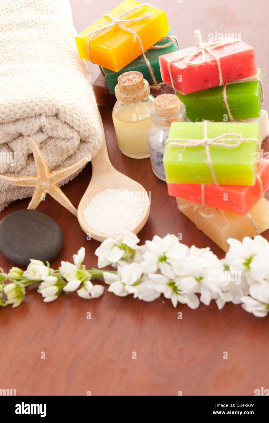 Handmade Soap closeup.Spa products - Stock Image