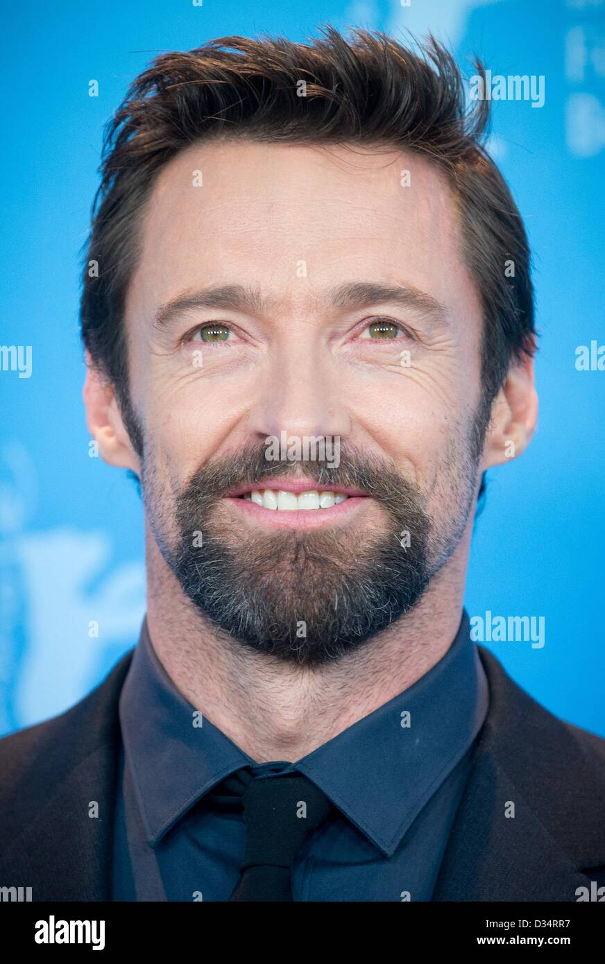 Berlin, Germany. 9th February 2013. Australian actor Hugh Jackman poses at the photocall for the movie 'Les - Stock Image