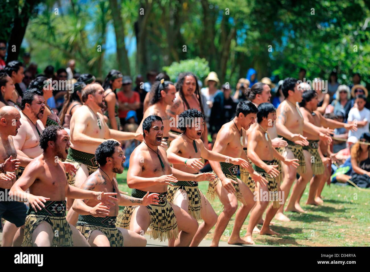 Kapa Haka group performs a Maori haka dance at the Waitangi Treaty Grounds during Waitangi Day celebrations Stock Photo