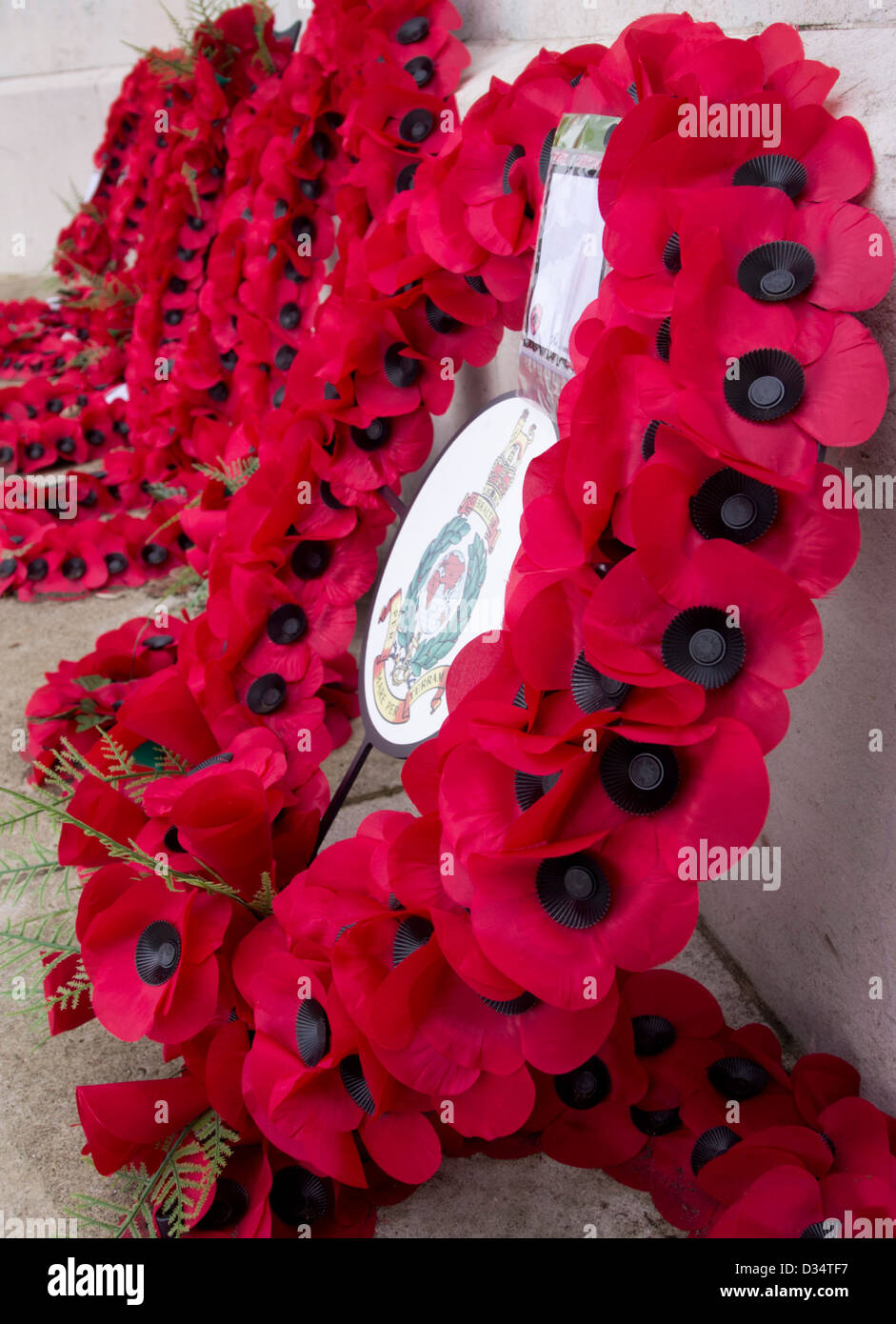 Poppy wreath from Royal Marines with other wreathes in the background, Naval War Memorial, Plymouth Hoe, Devon UK Stock Photo
