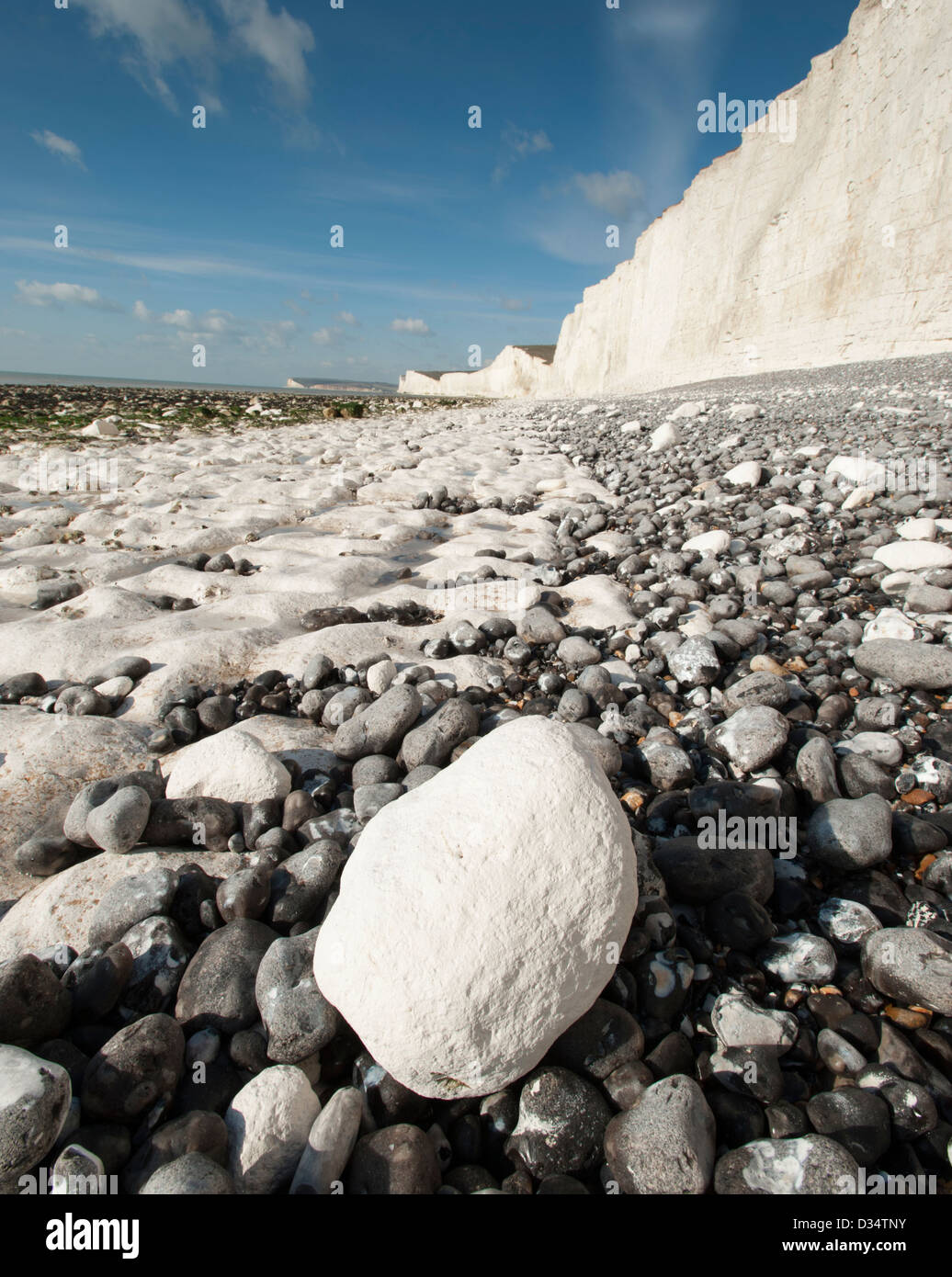 The beach at Birling Gap in East Sussex, England, UK - Stock Image