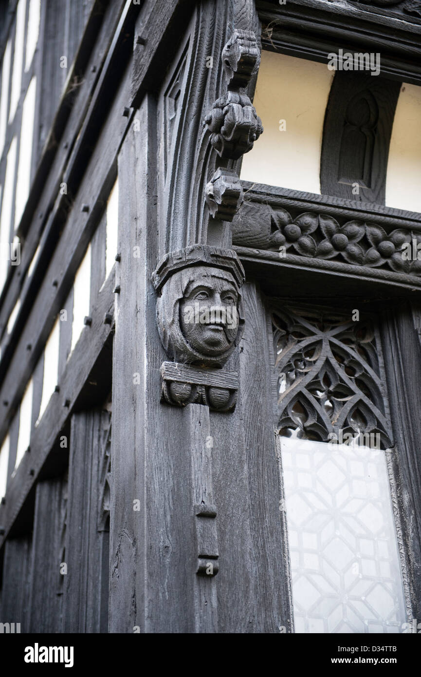 carved figure bramhall hall elizabethan manor house in stockport greater manchester england uk - Stock Image