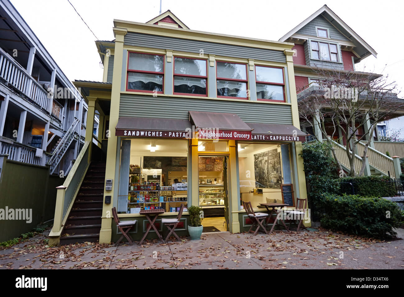 neighbourhood grocery and small deli in west end Vancouver BC Canada - Stock Image