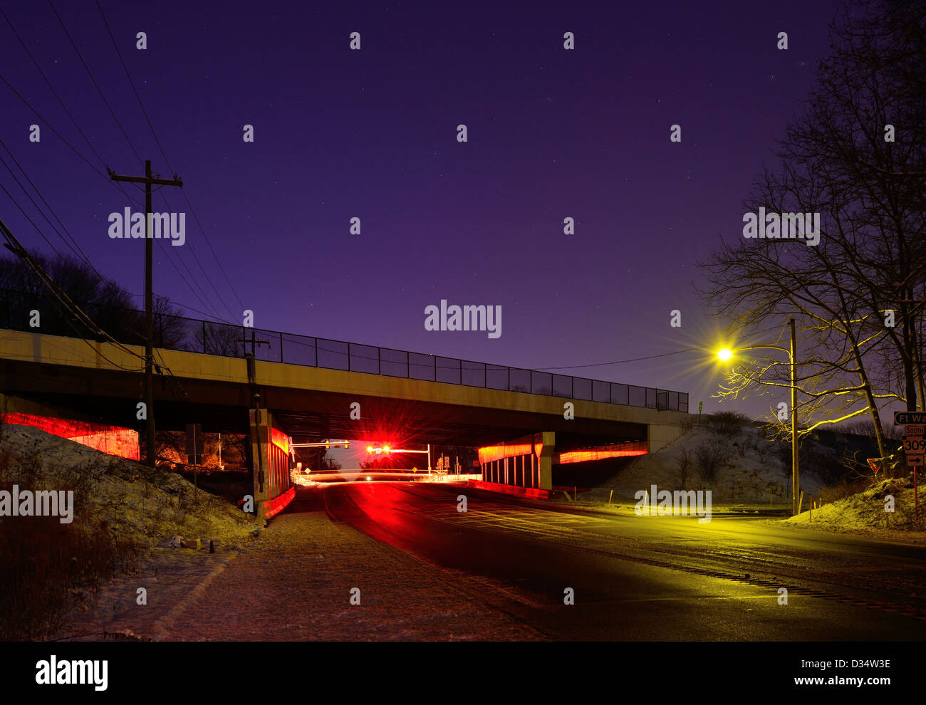 Street & Highway Overpass, At Dawn Stars In The Sky - Stock Image