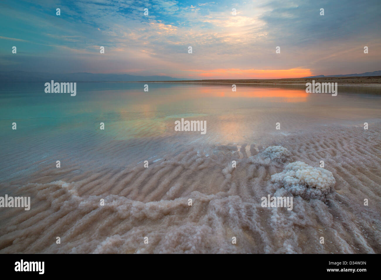 View of Dead Sea coastline at sunset time Stock Photo