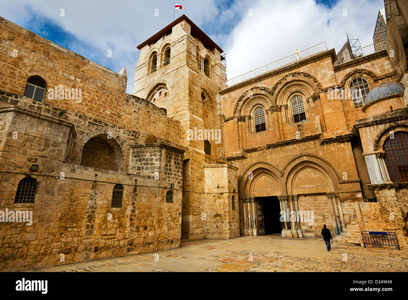 Vew on main entrance in at the Church of the Holy Sepulchre in Old City of Jerusalem - Stock Image