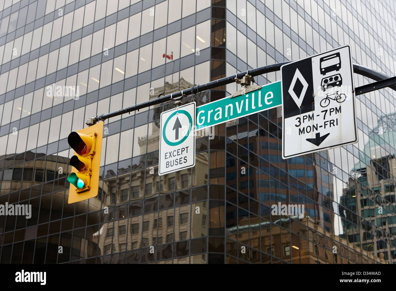 granville street streetsign in downtown Vancouver BC Canada - Stock Image