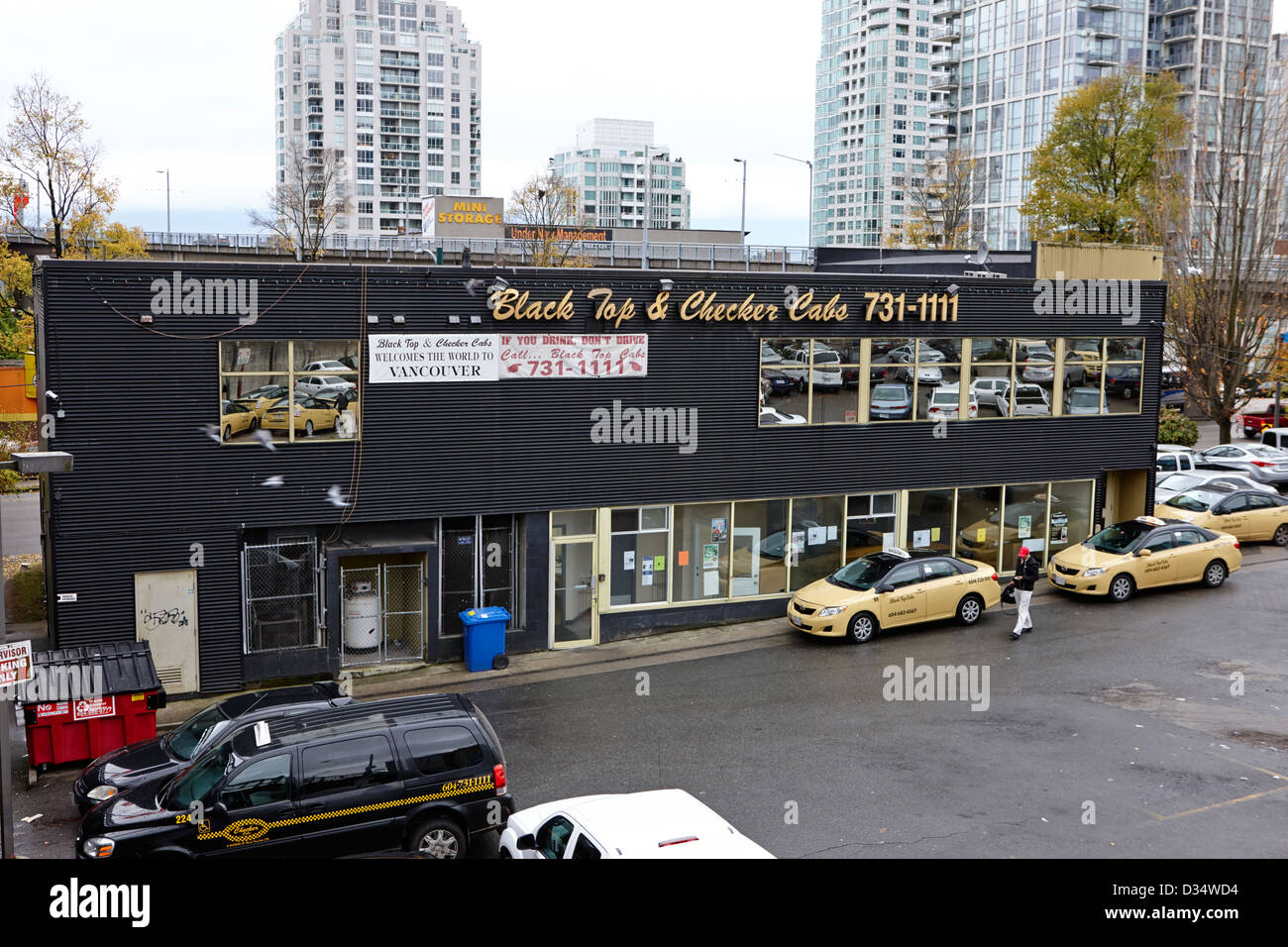 black top and checker cabs office Vancouver BC Canada - Stock Image
