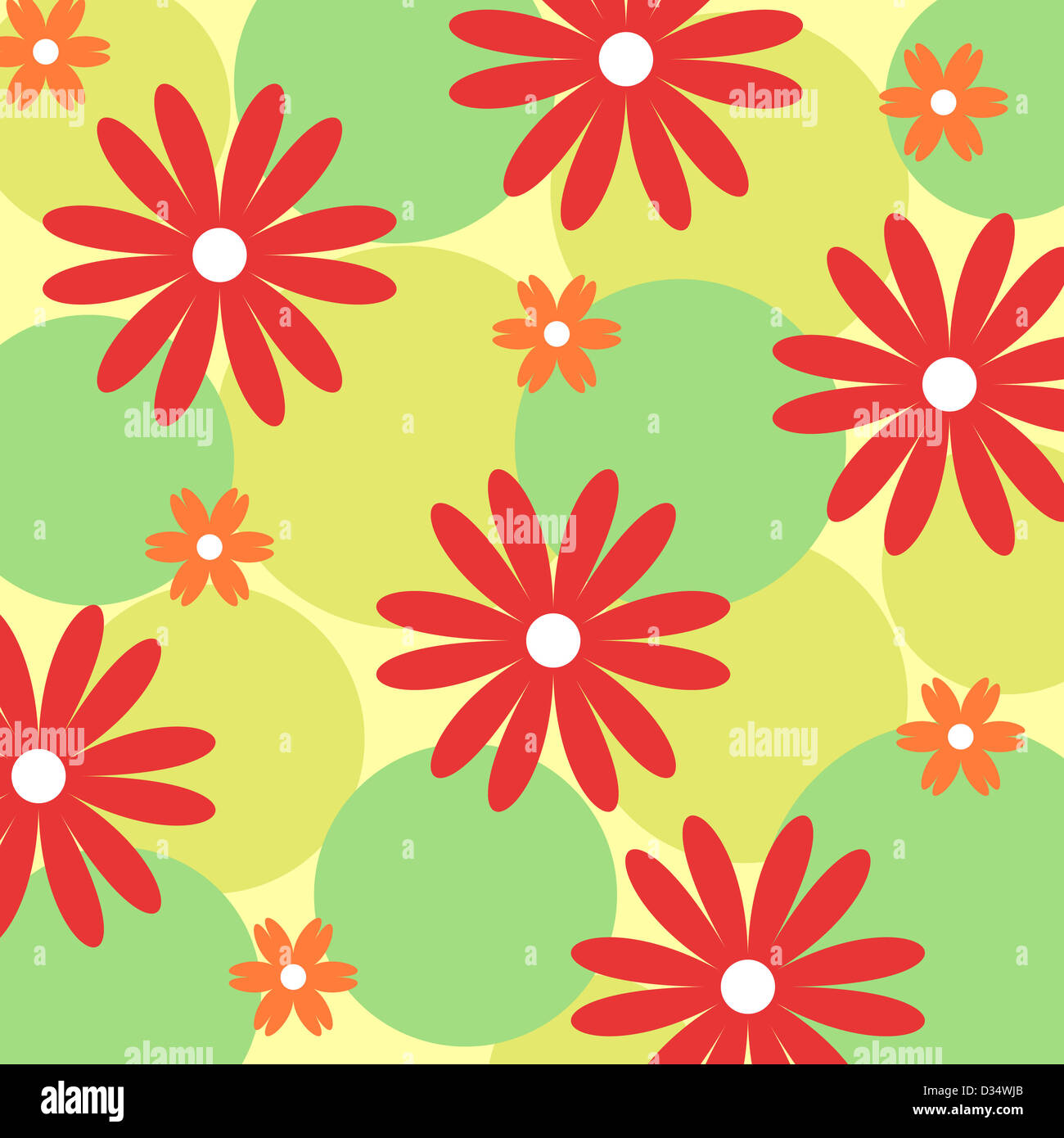 Red and orange floral pattern on green Stock Photo