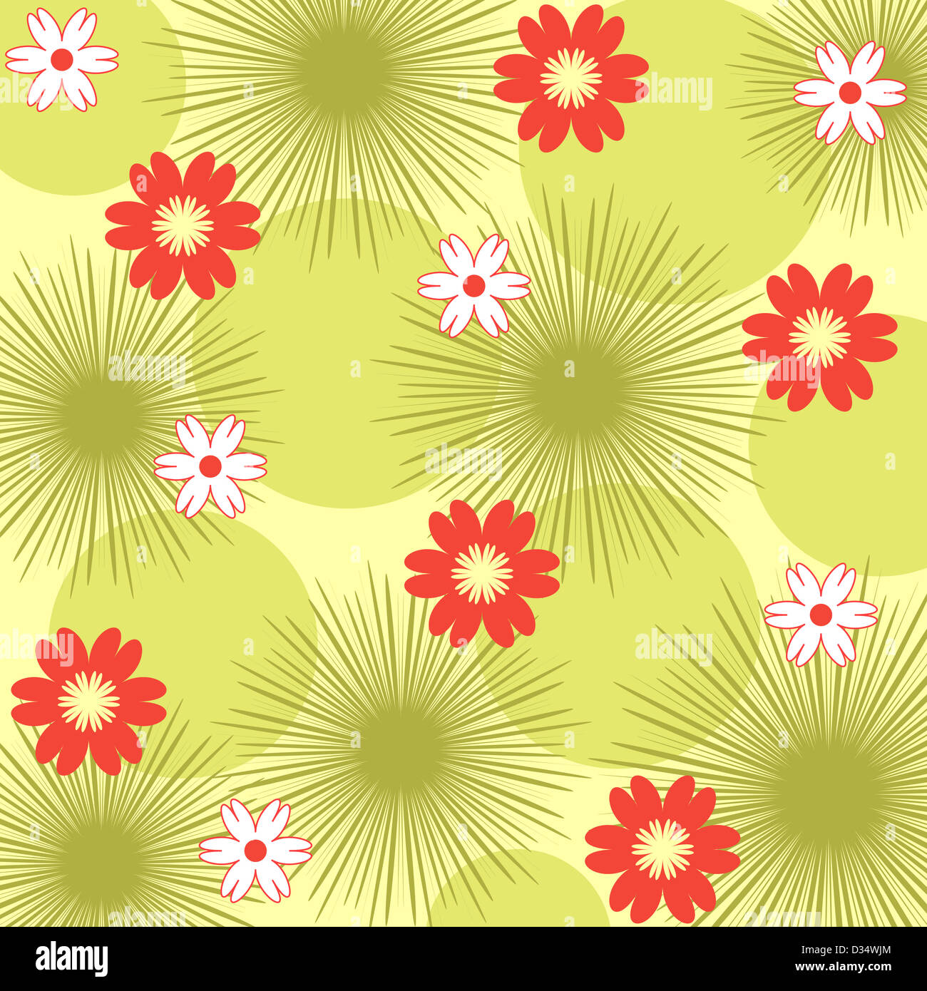 Orange and white floral pattern on green Stock Photo