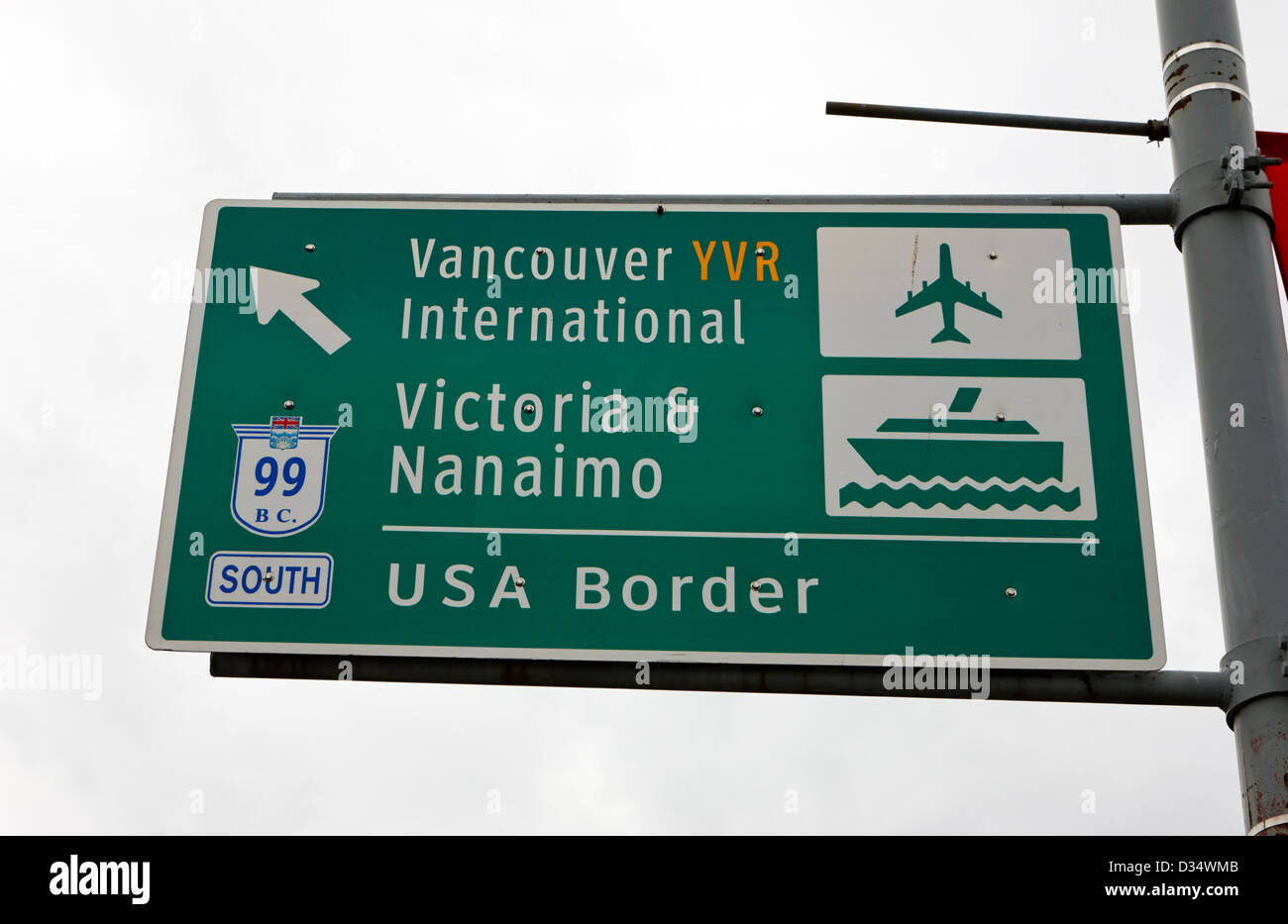 Roadsign For Vancouver Airport Victoria Nanaimo Ferries And Route 99 South To The USA Border BC Canada