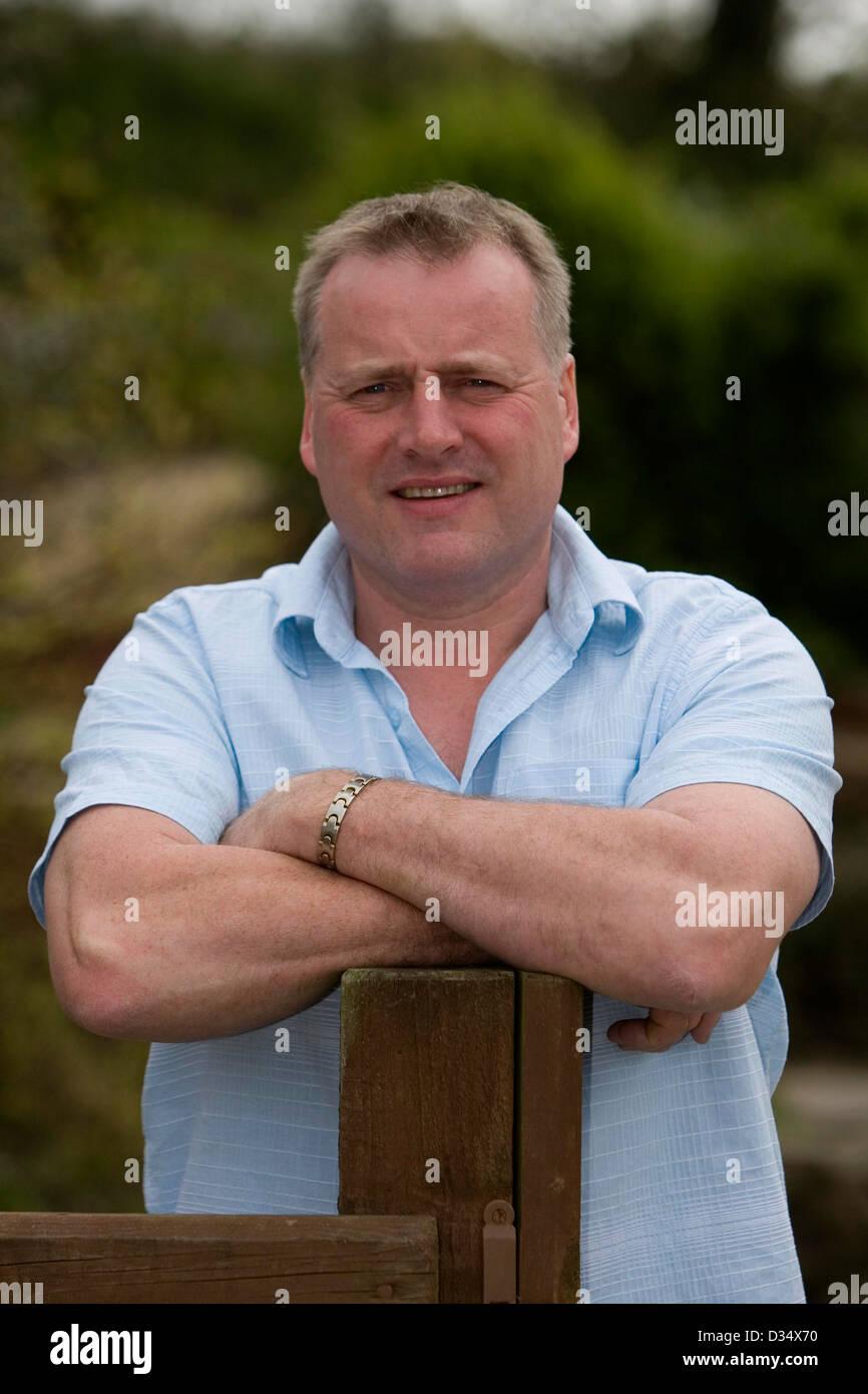 03.05.08. Farmer Gareth Richards from Bwlch Gwynt Farm near Meidrim, West Wales who suffers from Bi Polar disorder. - Stock Image