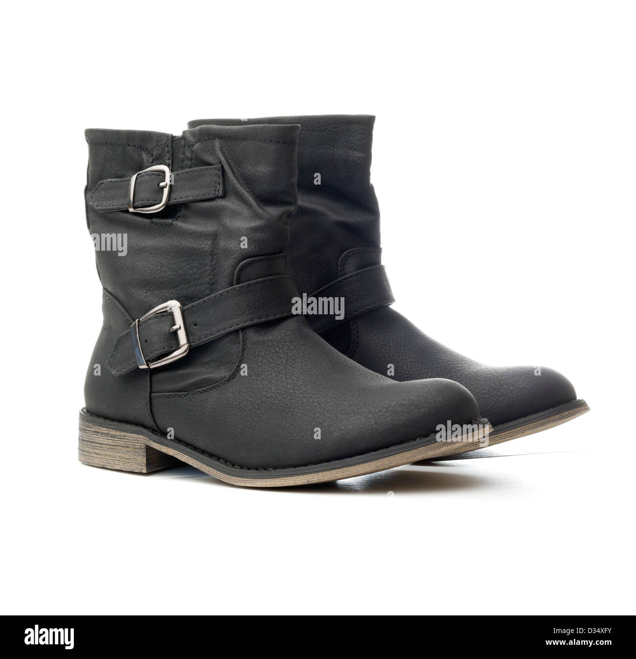 One pair of black Winter boots isolated on white background - Stock Image
