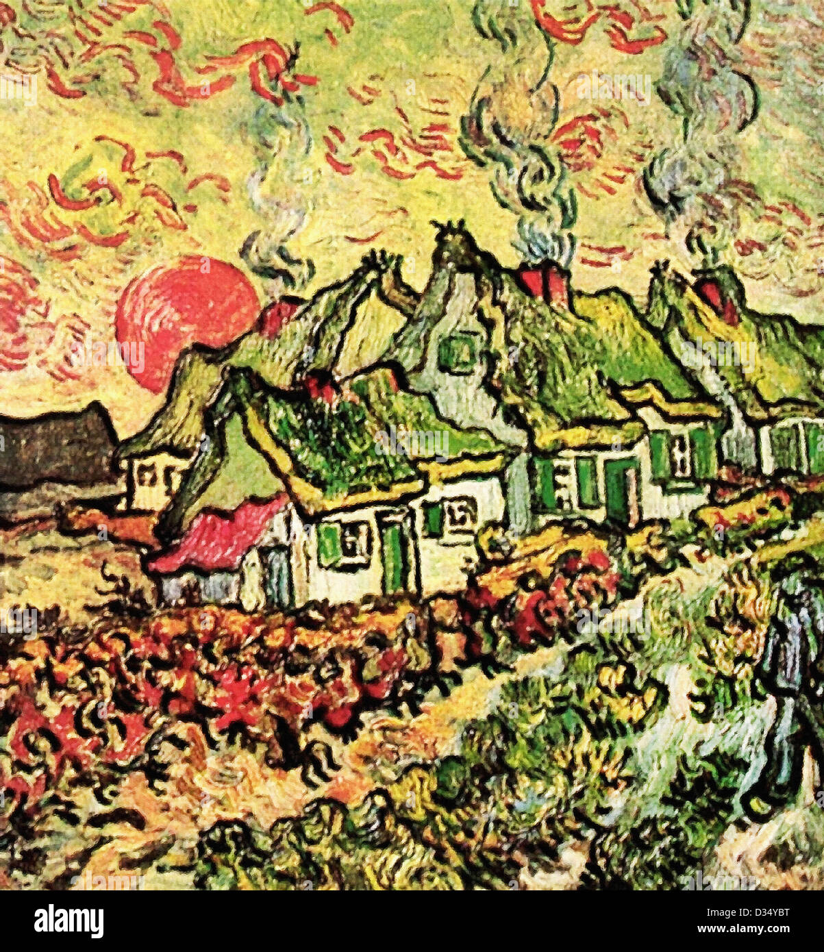 Vincent van Gogh, Cottages Reminiscence of the North. 1890. Post-Impressionism. Oil on canvas. Creation:Saint-Rémy - Stock Image