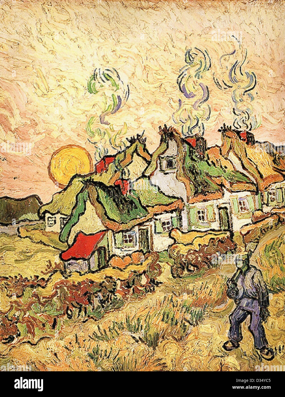 Vincent van Gogh, Thatched Cottages in the Sunshine Reminiscence of the North. 1890. Post-Impressionism. Oil on - Stock Image