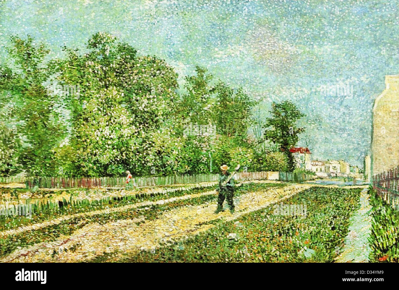 Vincent van Gogh, Man with Spade in a Suburb of Paris. 1887. Post-Impressionism. Oil on canvas. Place of Creation: - Stock Image