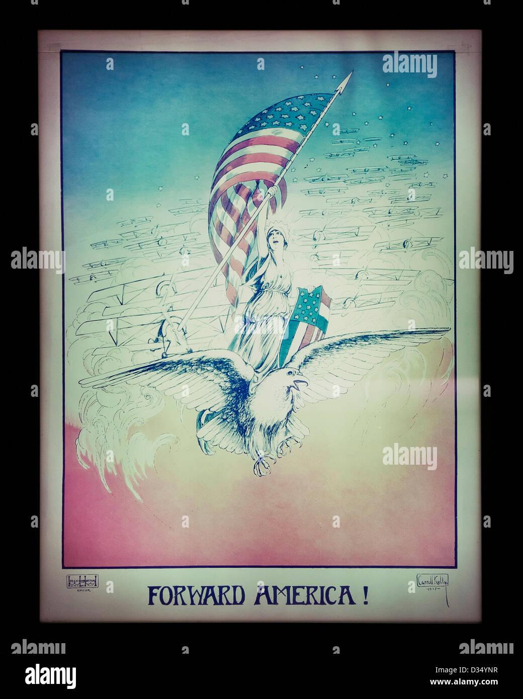 Forward America - WWI propaganda poster, circa 1917 - USA - Stock Image
