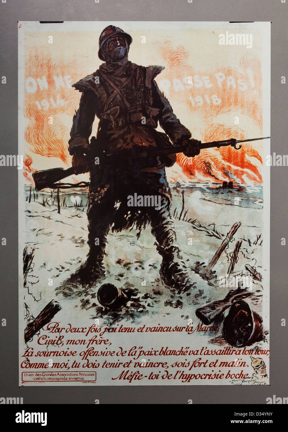 They Shall Not Pass - French WWI propaganda poster - USA - Stock Image