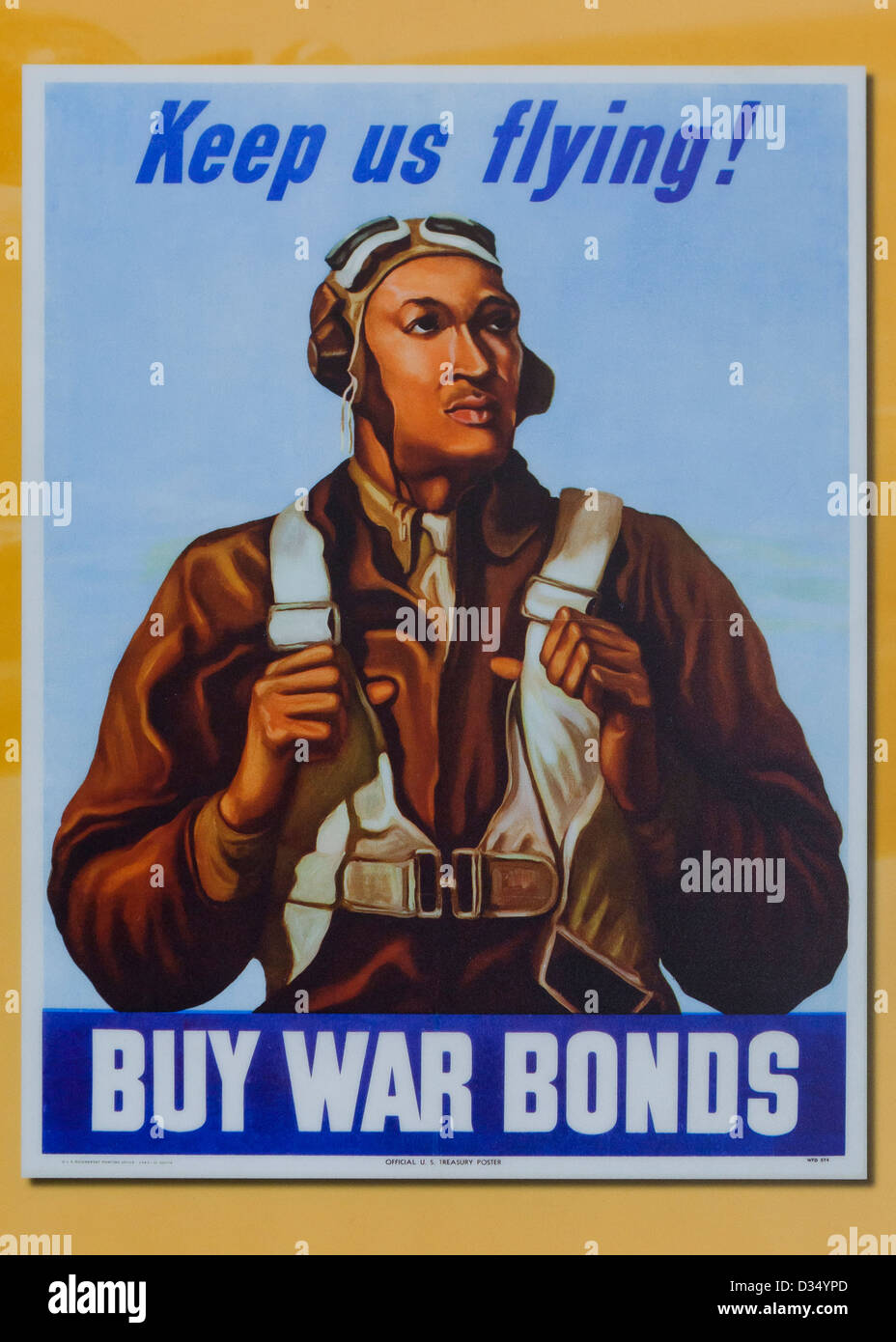 WWII War Bonds promotion poster featuring Tuskegee Airman William Diez - USA - Stock Image