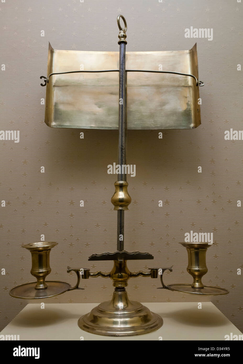 Vintage brass candelabrum with reflector - Stock Image