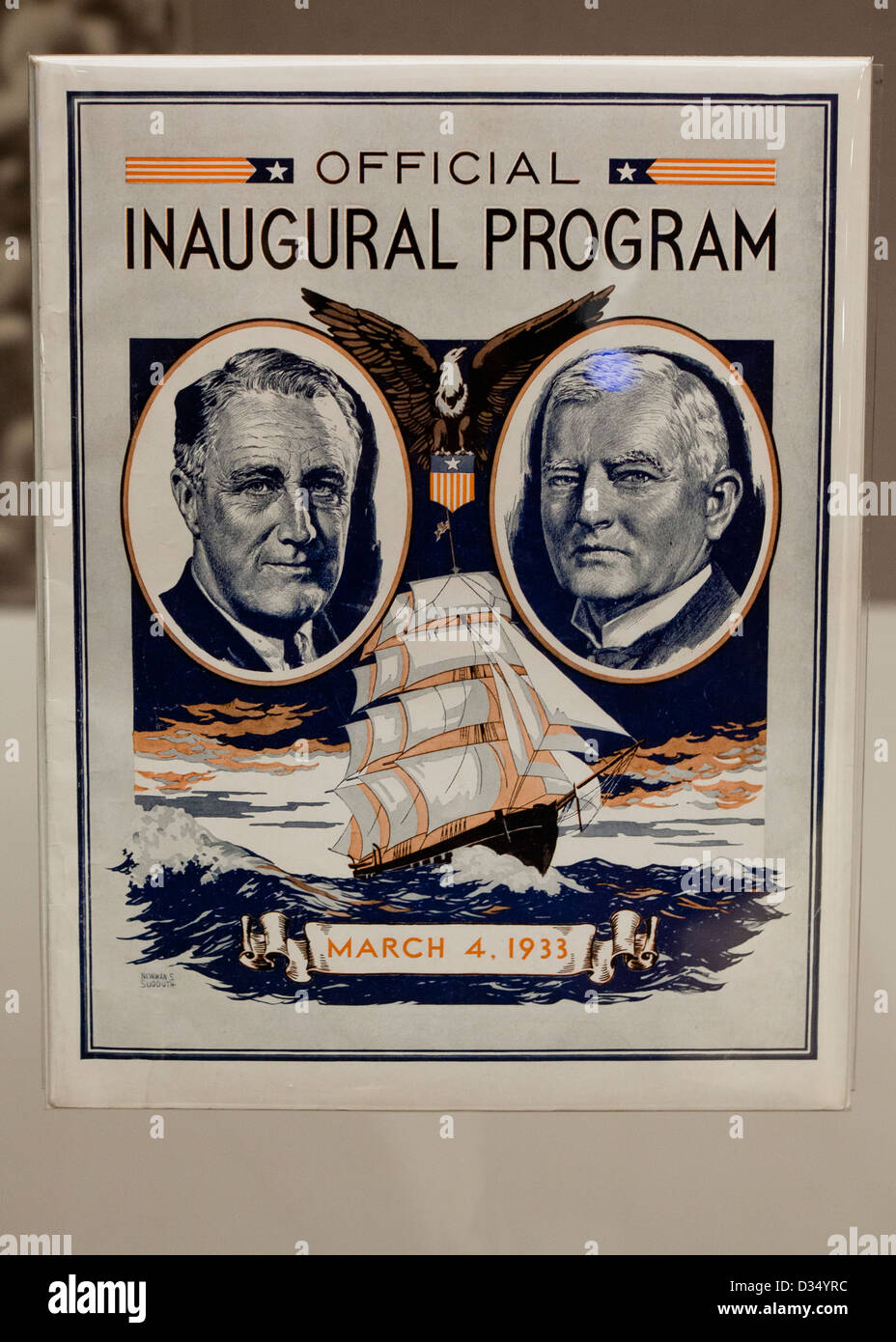 Roosevelt and Garner Official Inaugural program - Stock Image