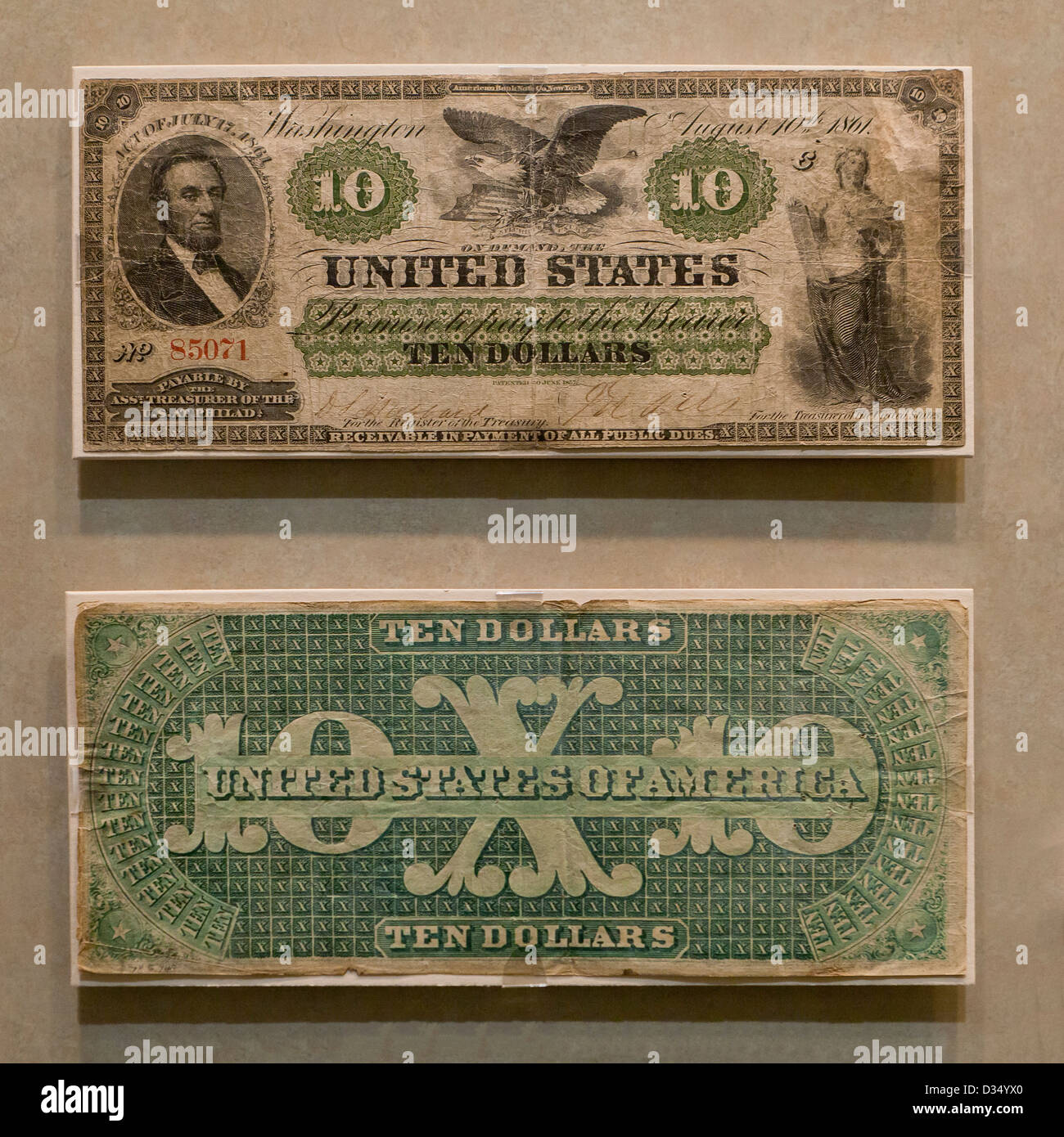 Obverse and reverse view of $10 bill - circa 1861 - Stock Image
