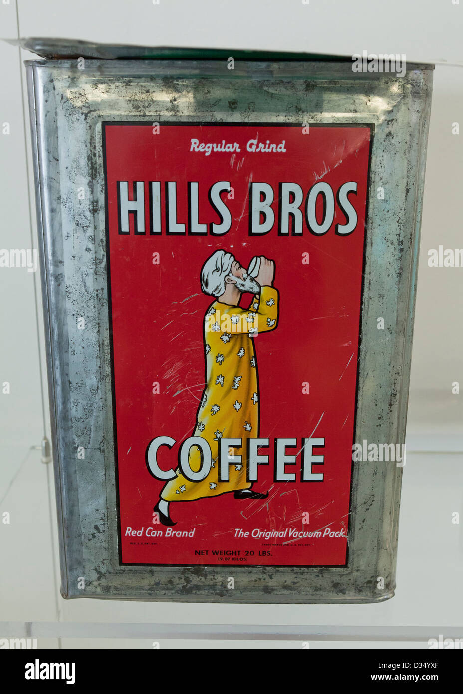 Vintage Hills Bros Coffee 20 lbs. can - Stock Image