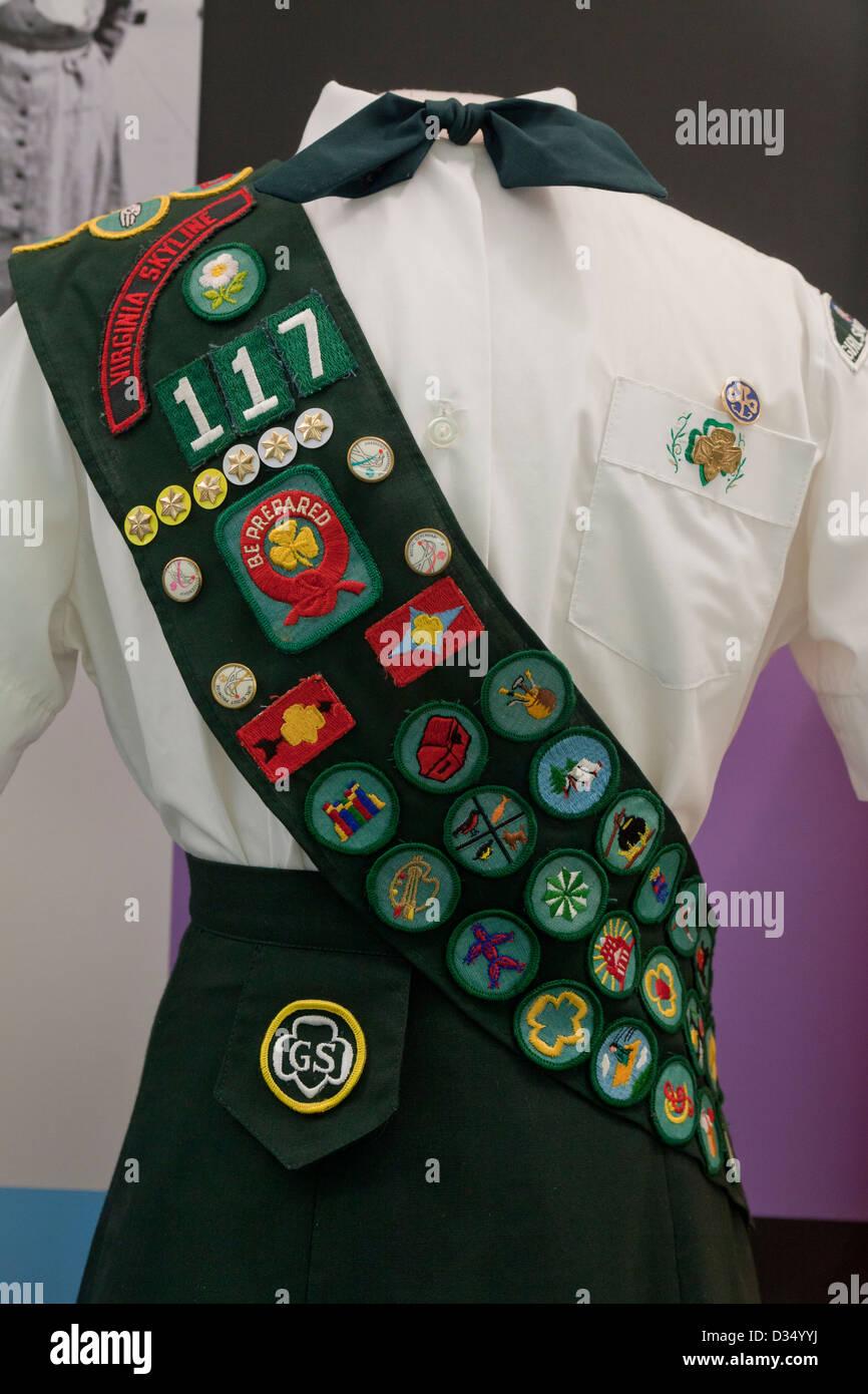 Vintage Girl Scouts uniform - circa 1970 - Stock Image