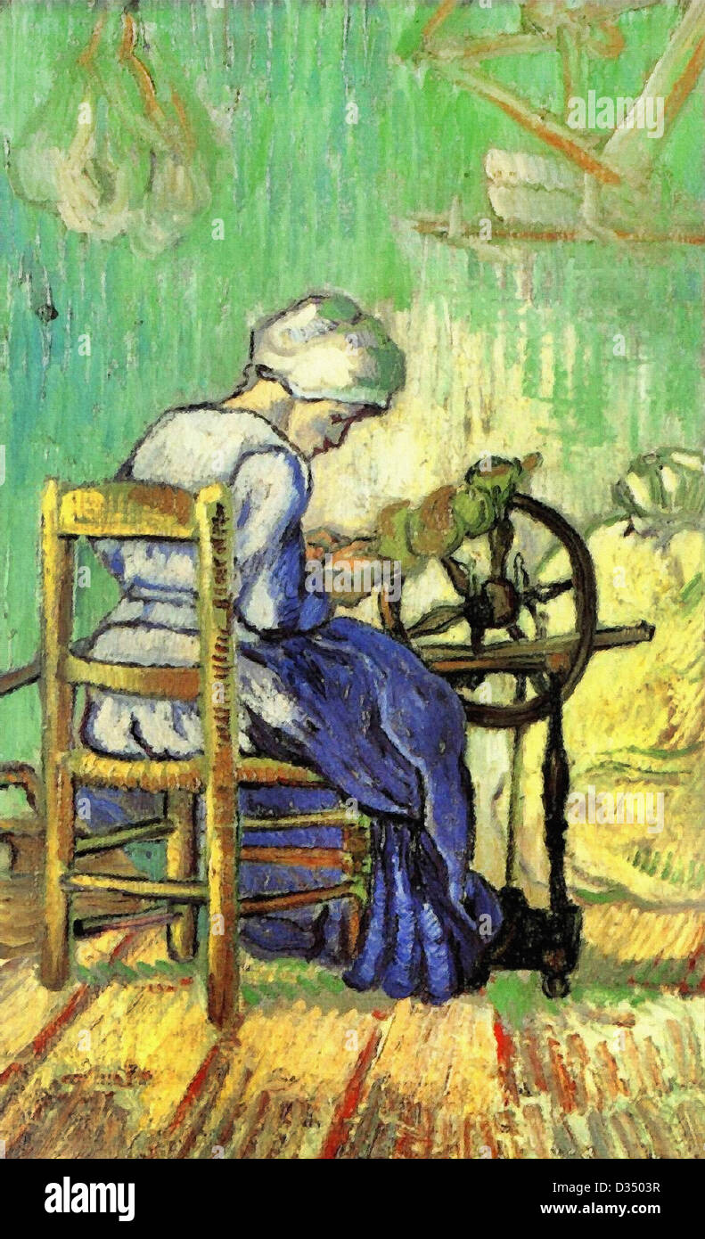 Vincent van Gogh, The Spinner (after Millet) . 1889. Post-Impressionism. Oil on canvas. Place of Creation: Saint - Stock Image