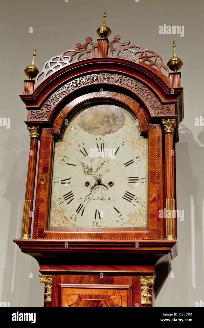 Antique mahogany long-case clock, circa 18th century - USA Stock Photo
