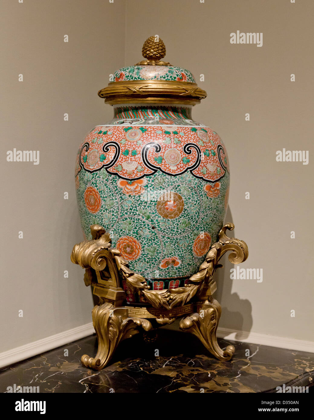 Chinese porcelain jar from the Qing dynasty - circa mid 18th century - Stock Image