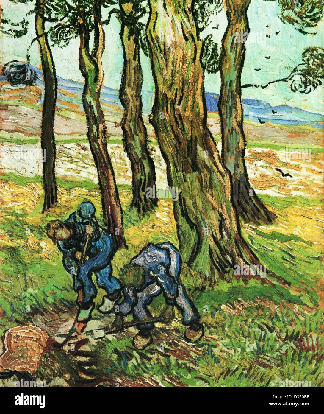 Vincent van Gogh, Two Diggers Among Trees. 1889. Post-Impressionism. Oil on canvas. Detroit Institute of Arts, Detroit, - Stock Image