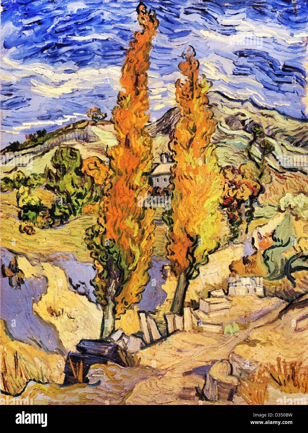 Vincent van Gogh, Two Poplars on a Hill. 1889. Post-Impressionism. Oil on canvas. Cleveland Museum of Art, Cleveland, Stock Photo