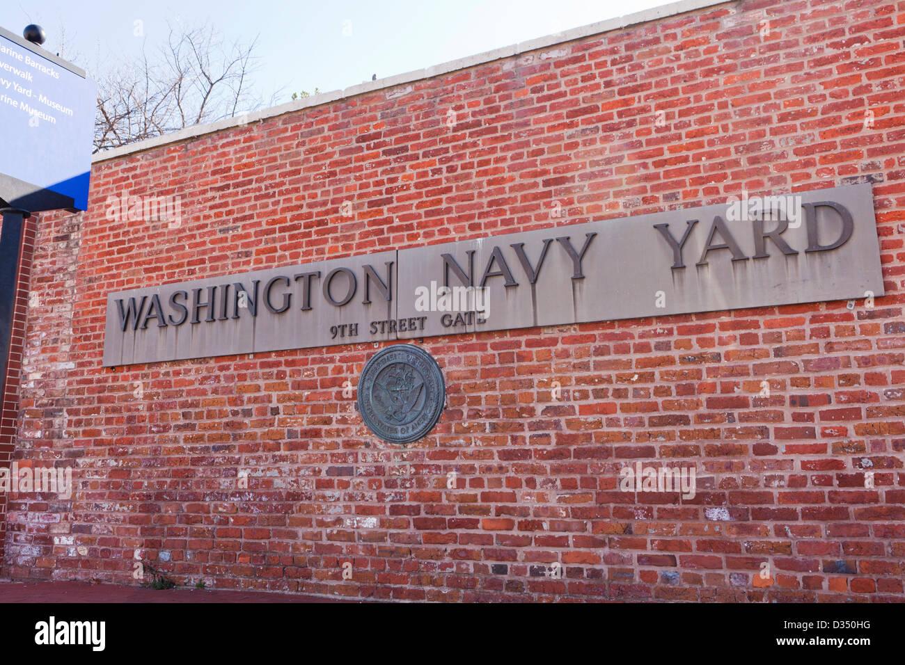 Washington Navy Yard sign Stock Photo