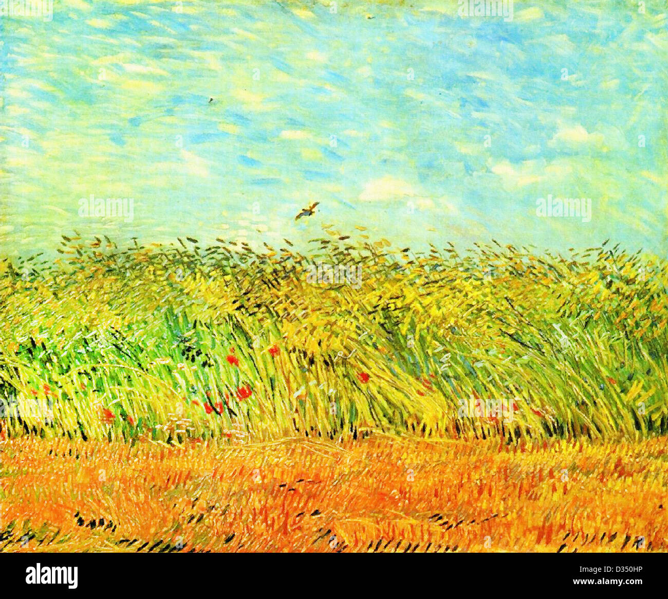 Vincent van Gogh, Wheat Field with a Lark. 1887. Post-Impressionism. Oil on canvas. Place of Creation: Paris, France. - Stock Image