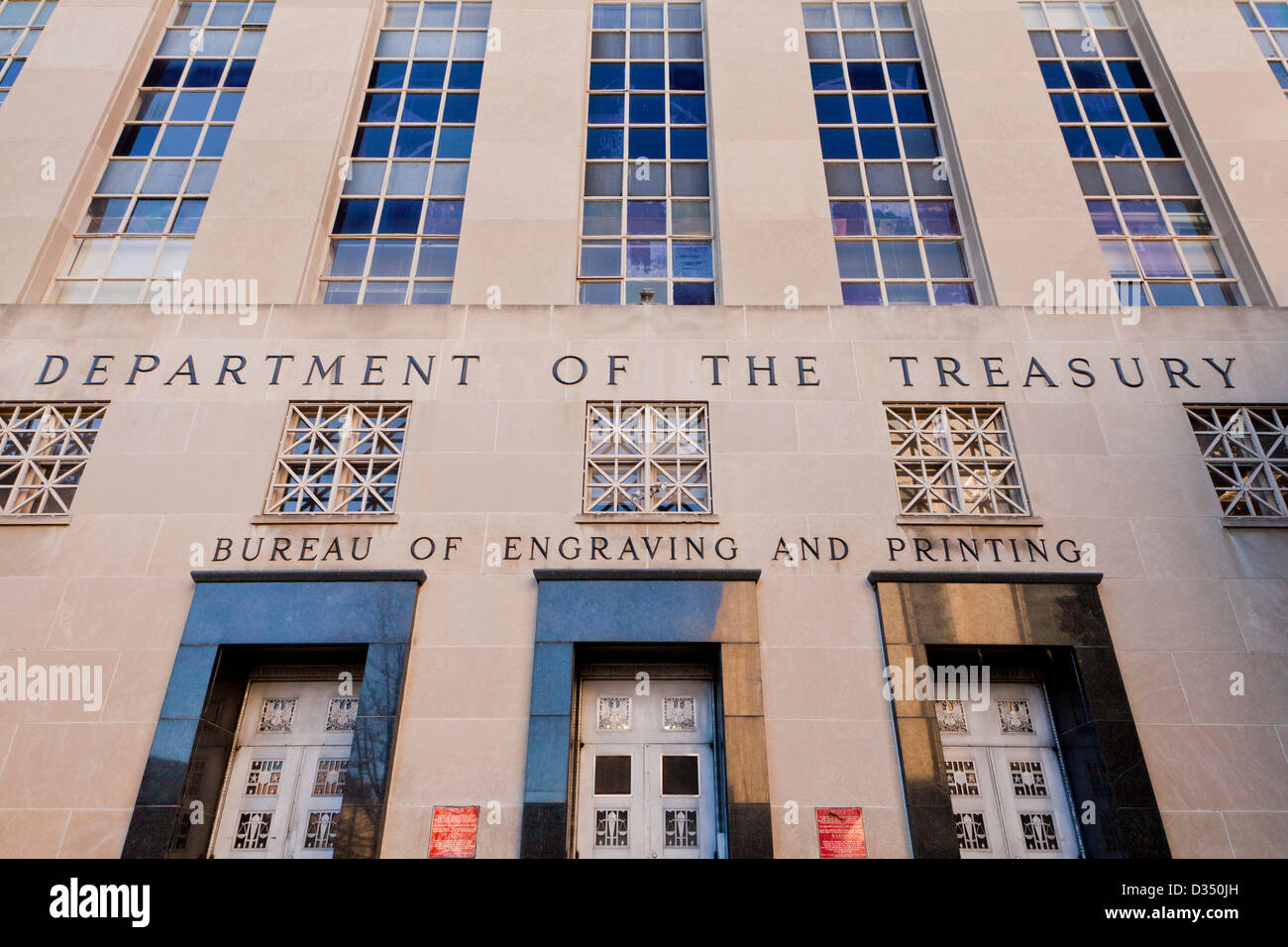 Bureau of Engraving and Printing - Department of the Treasury building, Washington, DC - Stock Image