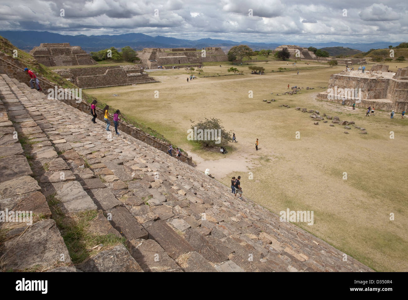 View of terraces from top of South Platform at Monte Albán, Oaxaca, Mexico. - Stock Image