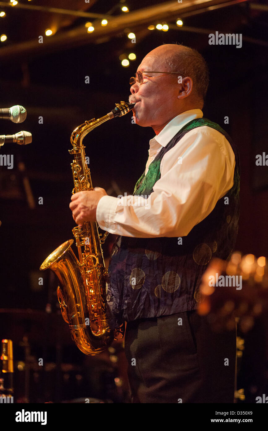 Saxophonist Akira Sakata performing live in Chicago in 2009. - Stock Image